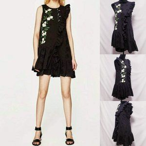 Zara Dresses - 😍Zara Trafaluc Daisies, Black eyelet Dress XS💋